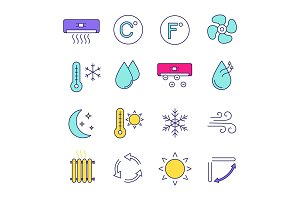 Air conditioning color icons set