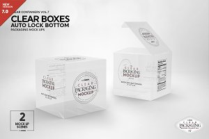 Clear Lock Bottom Boxes Mockup