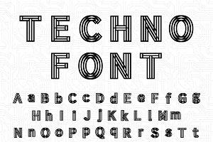 Futuristic complicated techno font