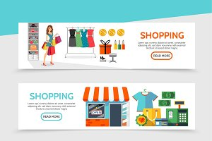 Flat shopping horizontal banners