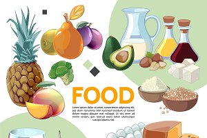 Colorful cartoon food composition
