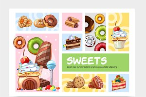 Cartoon sweets infographic concept