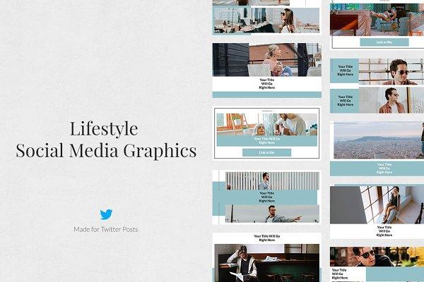 Twitter Templates: Social Corner Graphics - Lifestyle Twitter Posts