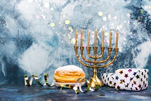 Hanukkah festive background