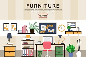 Flat designer workplace concept