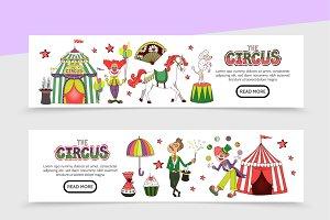 Flat circus horizontal banners