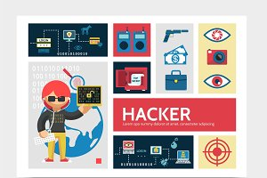 Hacker activity infographic template