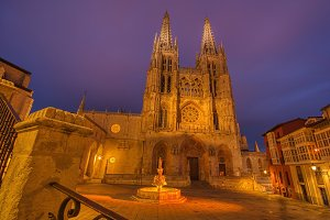 Burgos Cathedral in the dusk light,