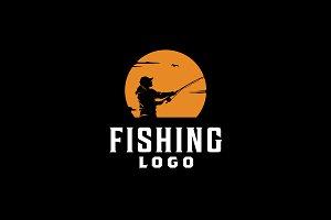 Sunset Fishing Silhouette logo