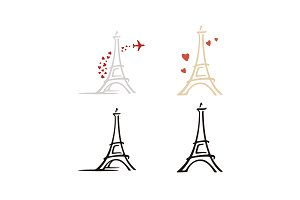 Simple Eiffel Tower Logo with Love