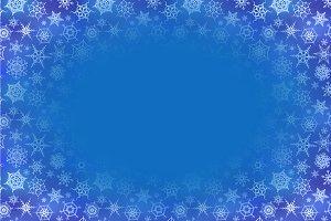 Frozen snowflakes on blue