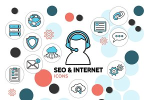 Seo and internet line icons set