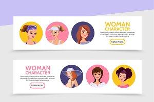 Woman avatars horizontal banners