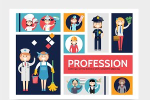 Profession icons infographic set