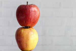 Fresh apples with white background