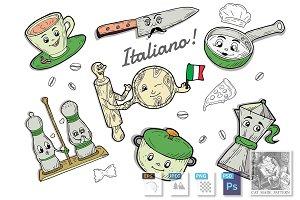 Italian tableware cartoon doodle set