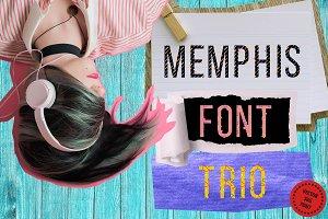 Memphis font trio