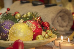 SPA composition with Christmas decor