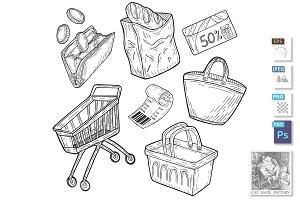 supermarket shopping groceries set