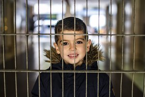 Lovely child behind a fence