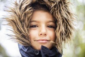 Handsome boy with a hair hood