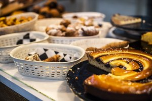 Many types of pastries in a bakery