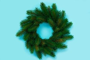Winter and Christmas wreath with fir