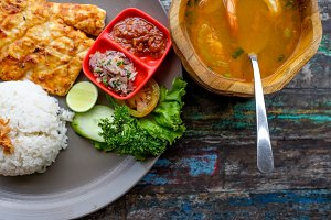 grilled barracuda with rice and soup