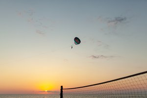 Silhouette of powered paraglider soa