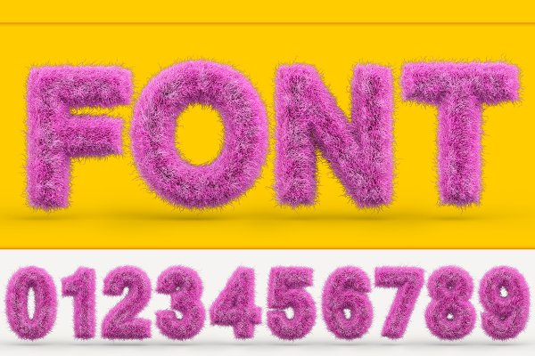 Uppercase fluffy and furry font