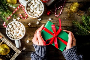 Woman's hands with christmas gift
