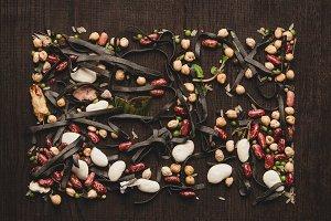 Food design minimalism. Colorful bea