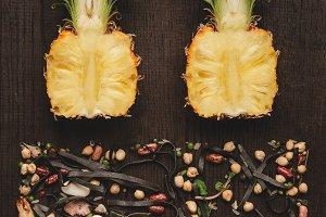 Food design minimalism flat lay. Cut