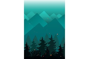Vector Background with Mountains and