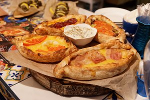 Greek pide pastry with various stuff