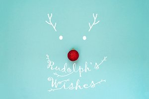 Silhouette of a Rudolph deer with a