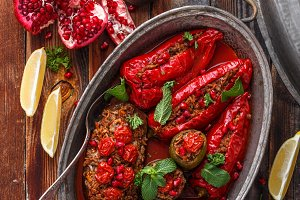 Baked red bell peppers stuffed with
