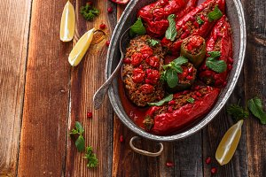 Baked red ramiro peppers stuffed