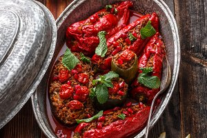 Baked red paprika stuffed with rice