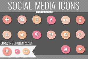peach watercolor social media icons