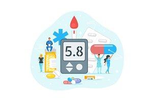 Diabetes treatment concept.