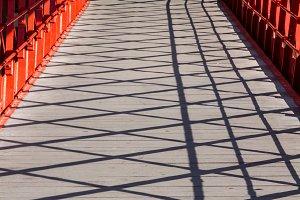 Girona, shadows on Eiffel Bridge