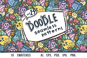 Crazy doodle patterns and colorings