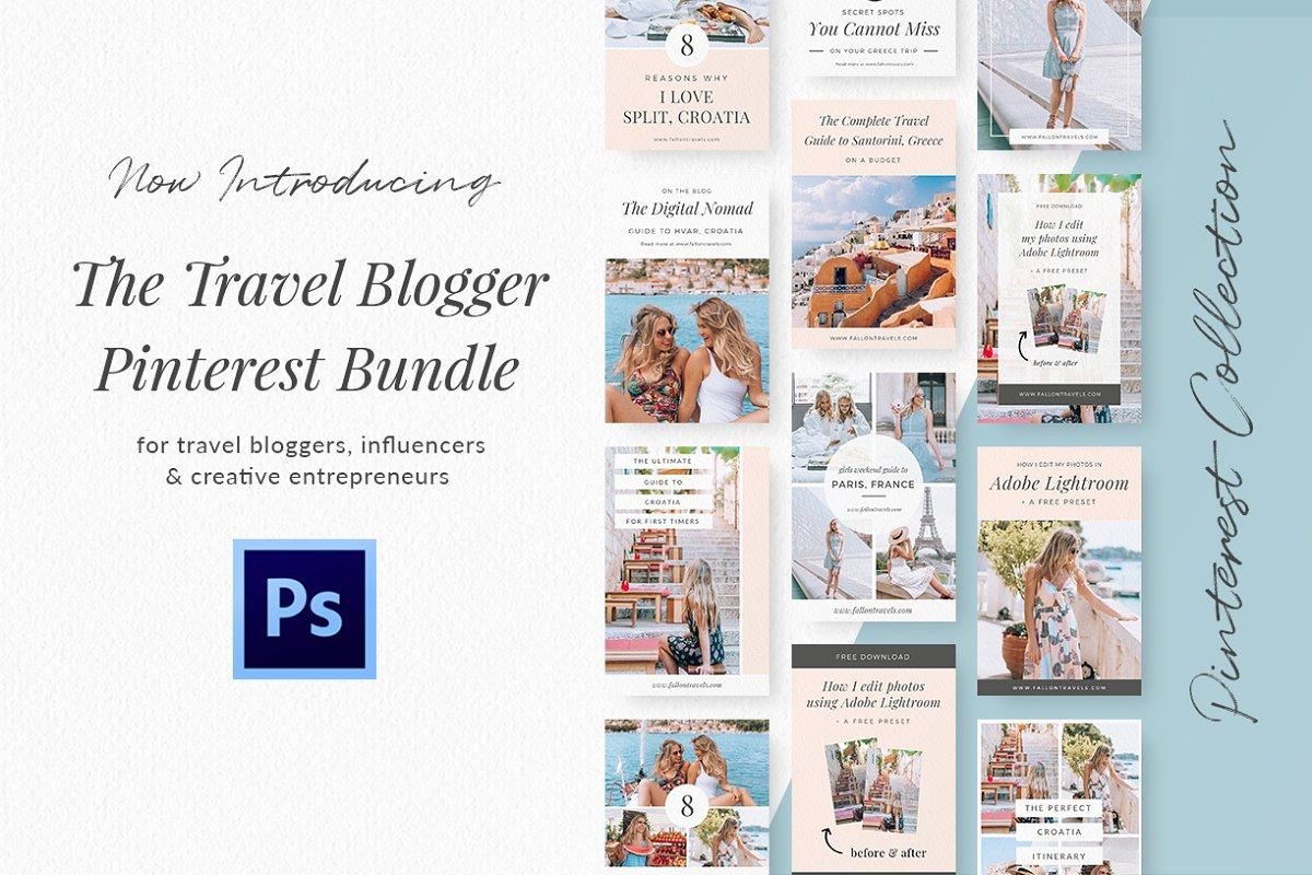 Travel Blog Pinterest Kit- Photoshop ~ Pinterest Templates