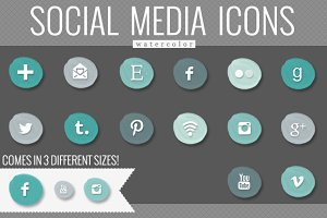 Teal Watercolor Social Media Icons