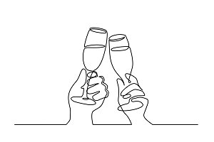 Two Hands cheering with glasses of