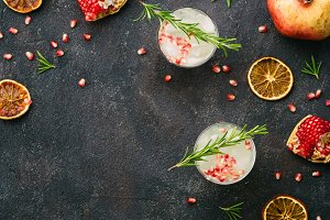white sangria with rosemary