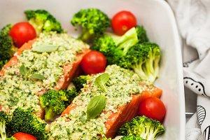 Raw fresh delicious salmon with pest