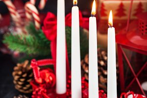 Four Christmas Advent candles and ho