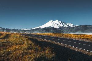 Road to the Elbrus mountain at sunri